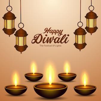 Cartão feliz celebração do festival indiano de diwali com diwali diya