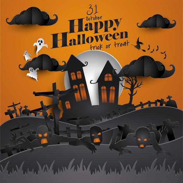 Cartão feliz da arte do papel do dia das bruxas