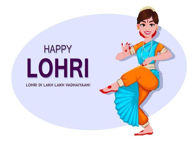 Cartão feliz da lohri com linda garota indiana