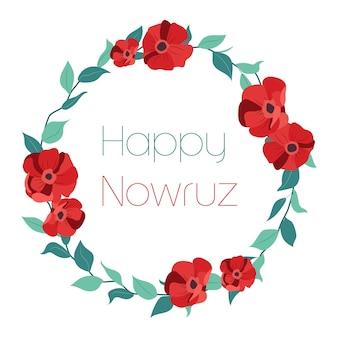 Cartão feliz da nowruz com flores vermelhas e folhas