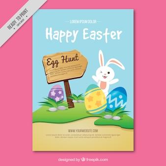 Cartão feliz de easter com coelho e sinal de madeira