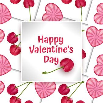 Cartão feliz dia dos namorados, com doces e cerejas vermelhas.