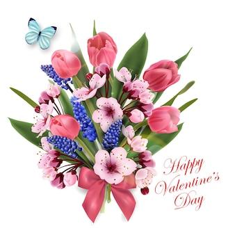 Cartão feliz dia dos namorados com um buquê de flores, tulipas cor de rosa, flores de cerejeira