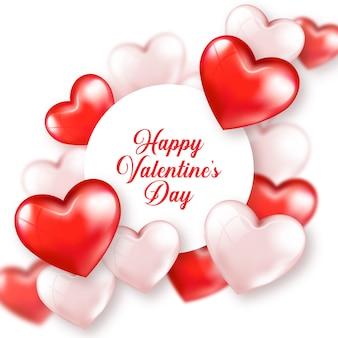 Cartão feliz dia dos namorados corações rosa vermelha bonito