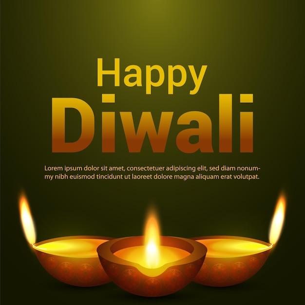 Cartão feliz diwali do festival indiano
