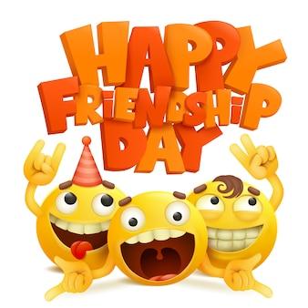 Cartão feliz do dia da amizade com grupo de personagens de banda desenhada do emoji.