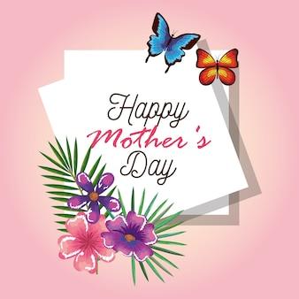 Cartão feliz do dia das mães com borboletas e decoração floral