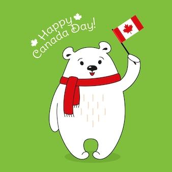 Cartão feliz do dia do canadá, desenho animado de urso polar em lenço com bandeira do canadá