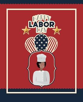 Cartão feliz do dia do trabalho com bandeira do cozinheiro chefe e dos eua