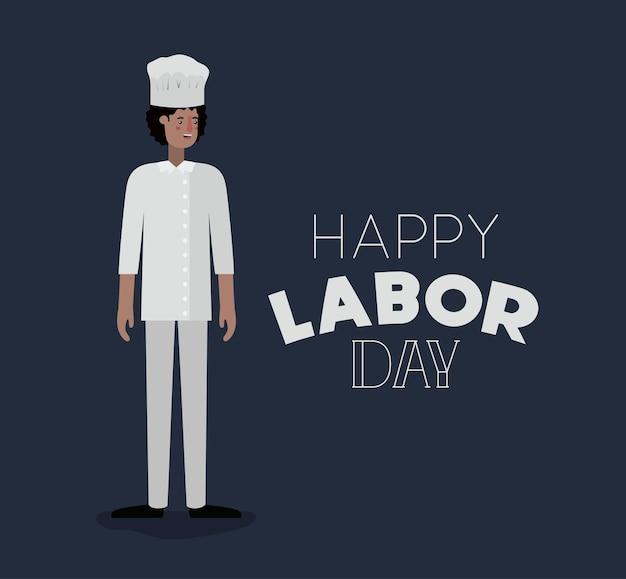 Cartão feliz do dia do trabalho com cozinheiro chefe