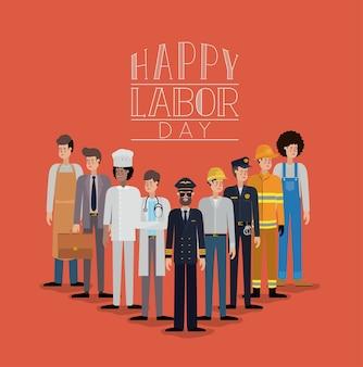 Cartão feliz do dia do trabalho com trabalhadores