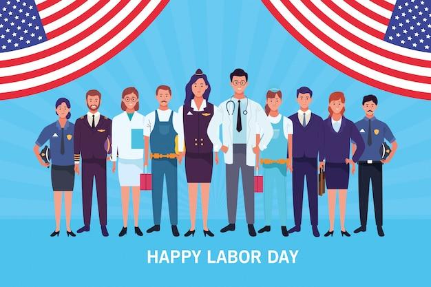 Cartão feliz do dia do trabalho, feriado dos eua