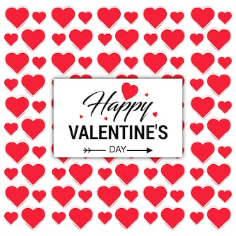 Cartão feliz do dia dos namorados com teste padrão dos corações