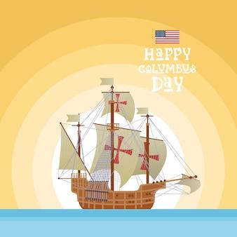Cartão feliz do feriado de columbus day national eua com água azul do oceano do navio