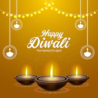 Cartão feliz do festival indiano de diwali com vetor diwali diya em fundo amarelo