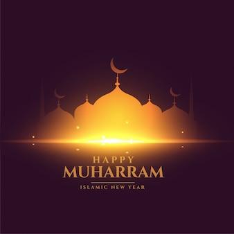 Cartão feliz do festival muharram com mesquita dourada brilhante