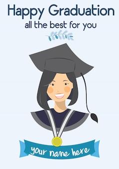 Cartão feliz do molde das felicitações da graduação