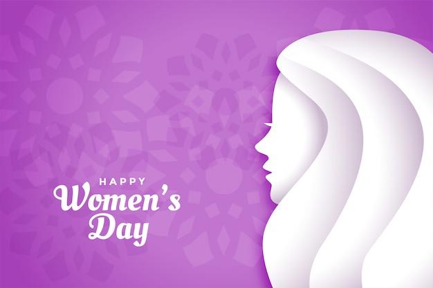 Cartão feliz do roxo do dia das mulheres felizes