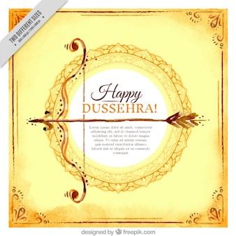 Cartão feliz dussehra aguarela com arco e flecha
