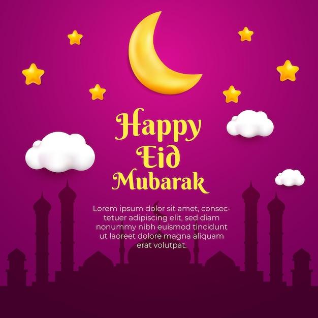 Cartão feliz eid mubarak com estrelas da lua em 3d estilo cartoon