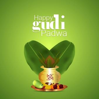 Cartão feliz gudi padwa com kalash dourado e folha de bananeira