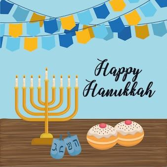 Cartão feliz hanukkah com candelabro