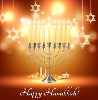 Cartão feliz hanukkah com luzes de candelabro de seis pontas e símbolos de estrela de david