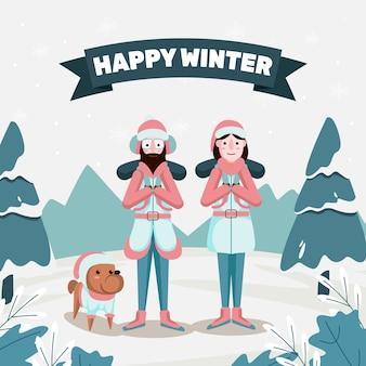 Cartão feliz inverno com pessoa escalando montanhas