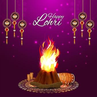 Cartão feliz lohri ou celebração de banner