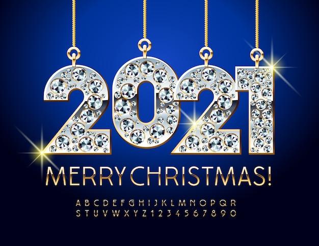 Cartão feliz natal com brinquedos de diamante 2021. conjunto de letras e números do alfabeto em ouro