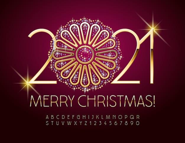 Cartão feliz natal com flor brilhante ornamentado. letras e números do alfabeto elegante de ouro. fonte chique brilhante