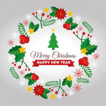Cartão feliz natal com moldura de decoração