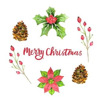 Cartão feliz natal em aquarela