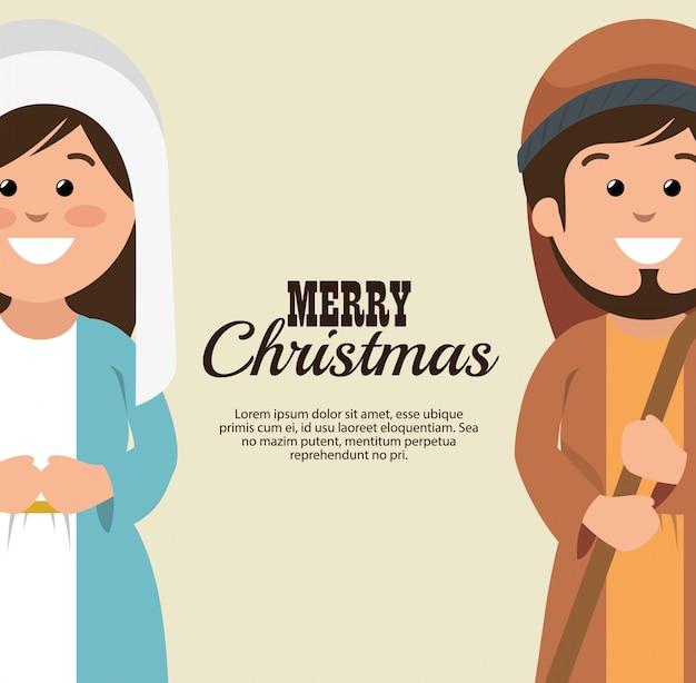 Cartão feliz natal mary joseph desenhos animados