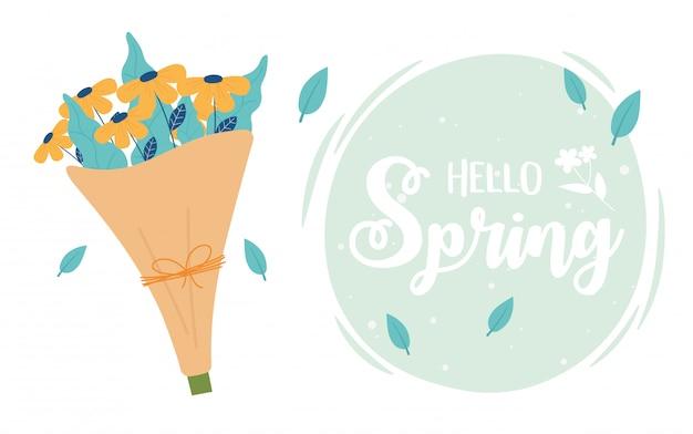Cartão feliz primavera, buquê de flores decoração romântica