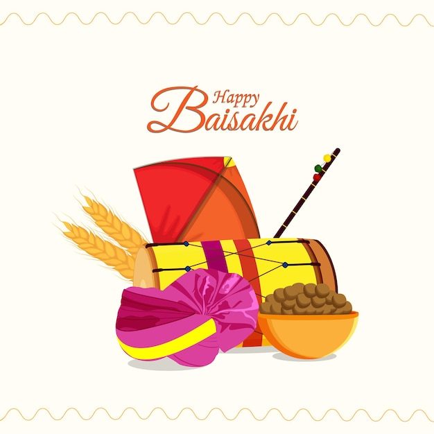 Cartão feliz vaisakhi do festival sikh e plano de fundo com elementos criativos planos