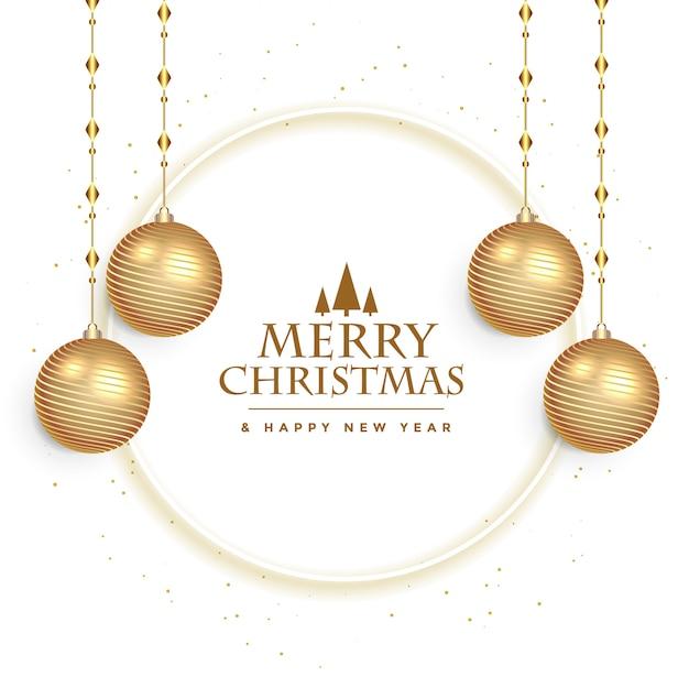 Cartão festival de natal branco com decoração de bolas