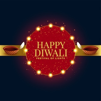 Cartão festival feliz diwali celebração com dois diya