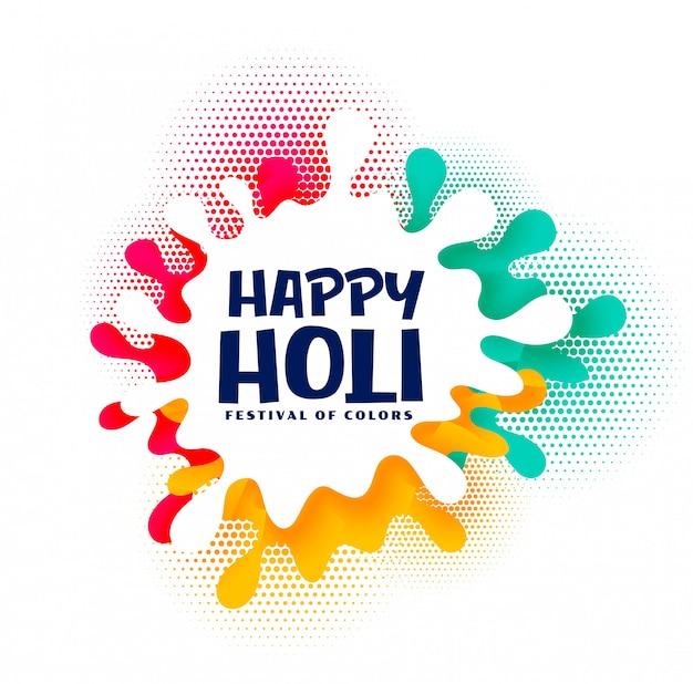 Cartão festival feliz holi colorido splash