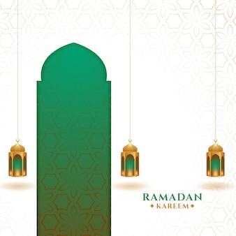 Cartão festival islâmico ramadan kareem com lanternas