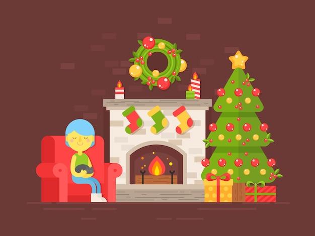 Cartão festivo com árvore de natal, lareira e personagem