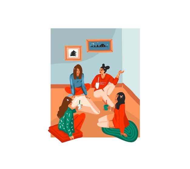 Cartão festivo de desenho animado com ilustrações fofas de amigas de natal desempacotar presentes em casa isoladas.