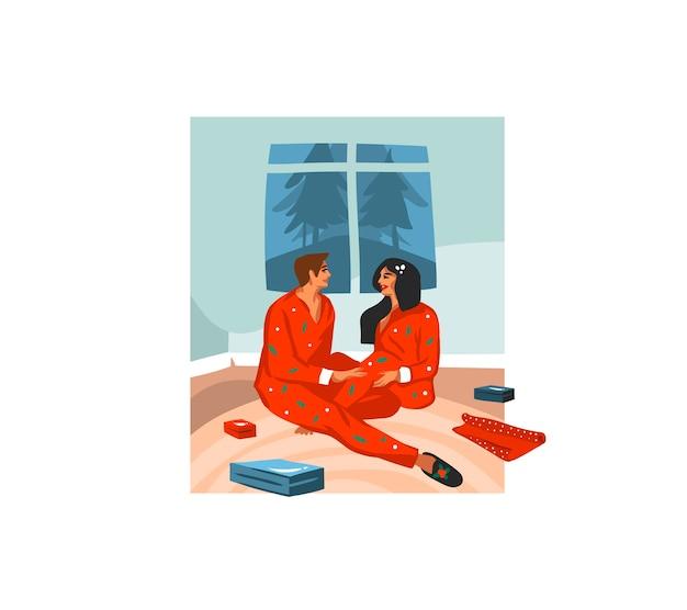 Cartão festivo de desenho animado com ilustrações fofas de casal de natal desempacotando presentes em casa juntos