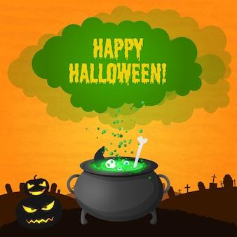 Cartão festivo de feliz dia das bruxas com abóboras assustadoras de inscrição e poção mágica fervendo em uma panela de bruxa