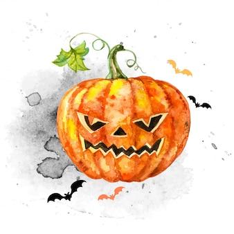 Cartão festivo em aquarela para o halloween com uma abóbora assustadora.