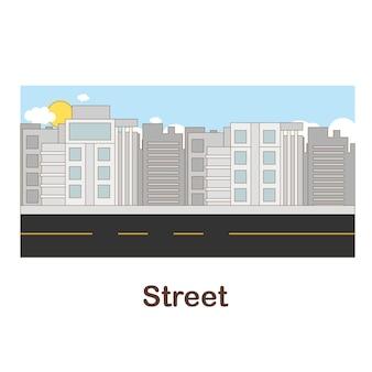 Cartão flash de vocabulário para crianças. rua para com imagem da rua para (vocabulário para cefr: nível a1-a2)