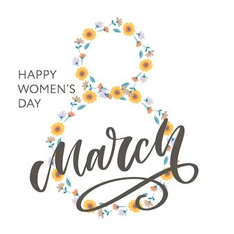 Cartão floral abstrato com 8 de março.