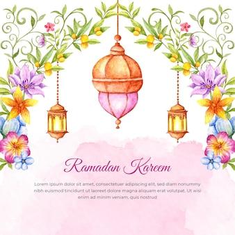 Cartão floral aquarela ramadan kareem