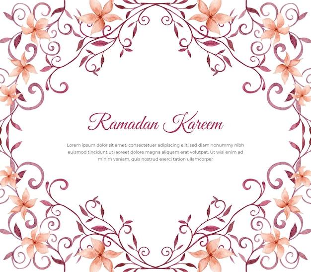 Cartão floral aquarela ramadan kareem Vetor Premium