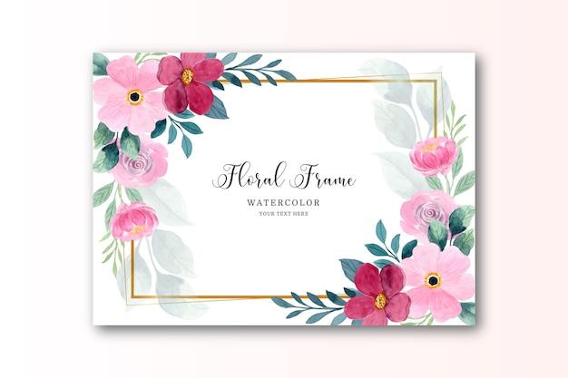 Cartão floral aquarela rosa vermelha com moldura dourada